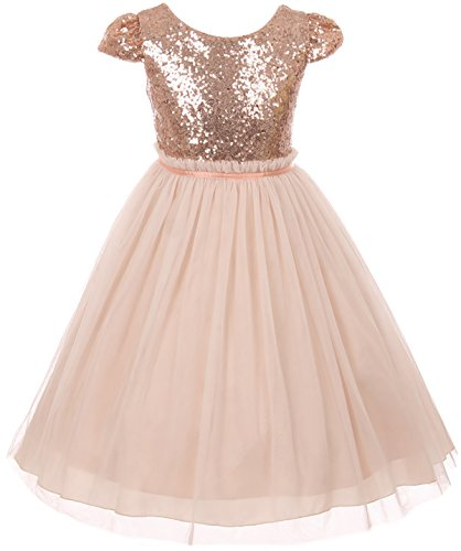 Big Girls' Sequin Tulle Cap Sleeve Bridesmaid Party Birthday Flower Girl Dress