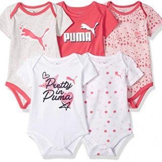 PUMA Baby Girls 5-Pack Bodysuit Set, red, 3-6M