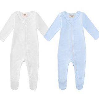 Owlivia Organic Cotton Baby Boy Girl 2 Pack Zip Front Sleep 'N Play