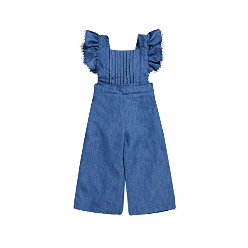 Mubineo Toddler Baby Girl Ruffle Sleeve Bell Bottom Demin Romper