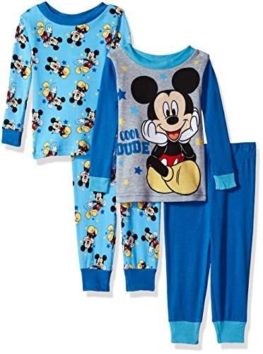 Disney Baby Boys' Mickey Mouse 4-Piece Cotton Pajama Set