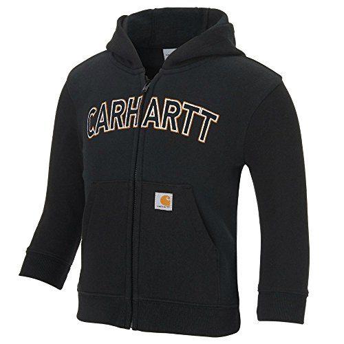 Carhartt Boys' Logo Fleece Zip Sweatshirt, Black, 9 Months