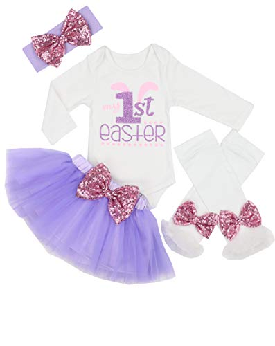 My 1st Easter Outfit Baby Girl Bunny Letters Romper Tutu Dress