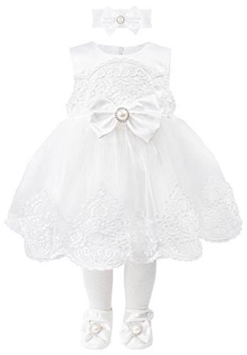 T.F. Taffy Taffy Baby Girl Christening Baptism Embroidered White Dress