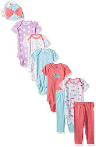 Gerber Baby Girls' 9-Piece Onesies Bodysuit, Pant and Cap Set