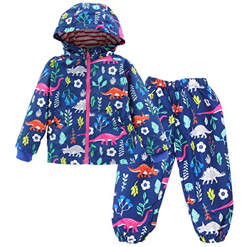 LZH Toddler Boys Girls Raincoat Waterproof Hooded Jacket