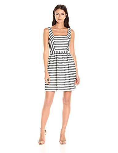 Trina Trina Turk Women's Calabazar Whitewash/Black Open Back Dress