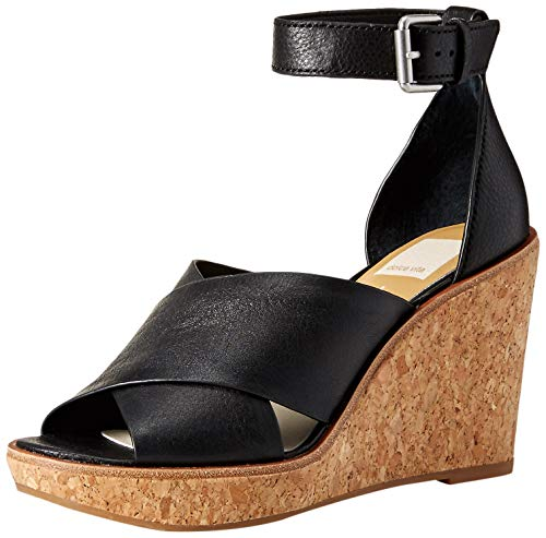 Dolce Vita Women's Urbane Wedge Sandal, Black Leather