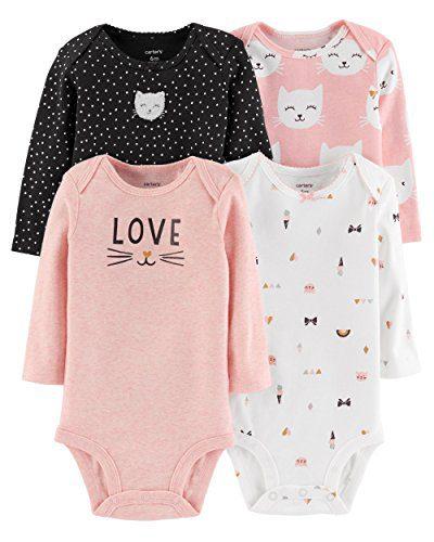 Carter's Baby Girls 4 Pack Bodysuit Set, Kitty Love, 12 Months