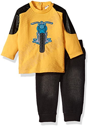 Petit Lem Baby Boys'' Motorcycle Set with Faux Denim Look Pants