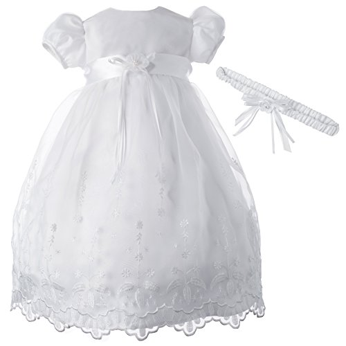 Lauren Madison Baby-Girls Newborn Satin Floral Embroidered Dress