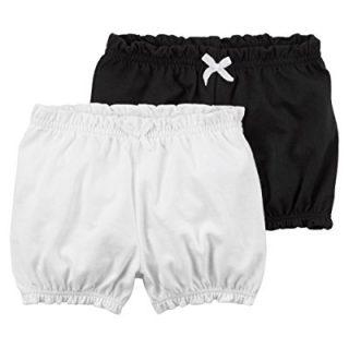 Carter's Baby Girls' 2-Pk. Crinkle Shorts,Black/White, Newborn