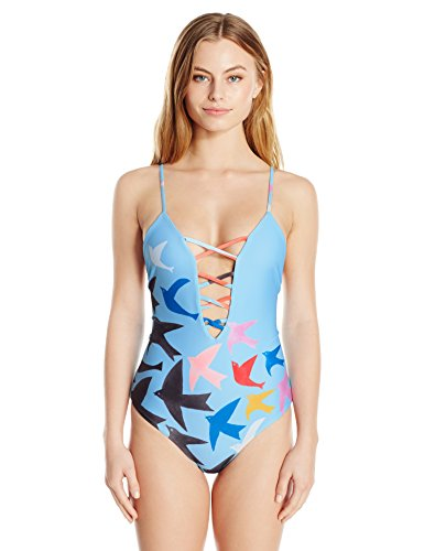 Mara Hoffman Tanya Lattice Front One Piece Swimsuit, Birds Sky