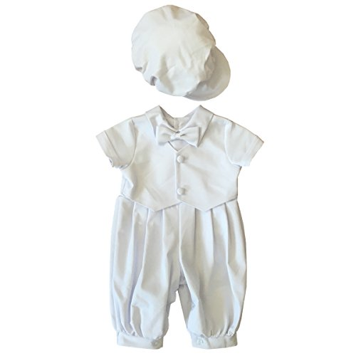 BBVESTIDO 100% Cotton White Baby Boy Christening Romper