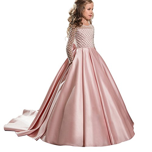 Christmas Flower Girl Dress Floor Length Button Draped Tulle Ball Gowns