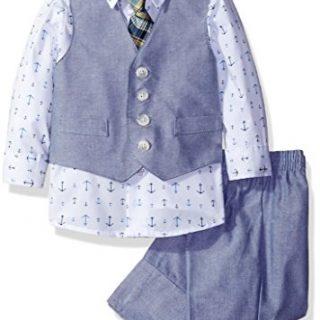 Nautica Dressy Vest Set, Blue Anchors, 6-9 Months