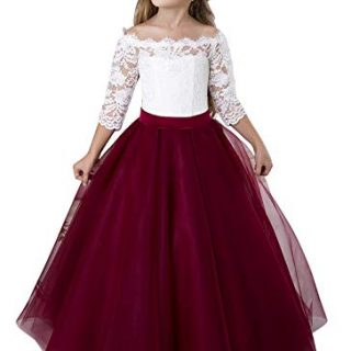 Flower Girl Dress Kids Lace Pageant Party Christmas Ball Gown Dresses