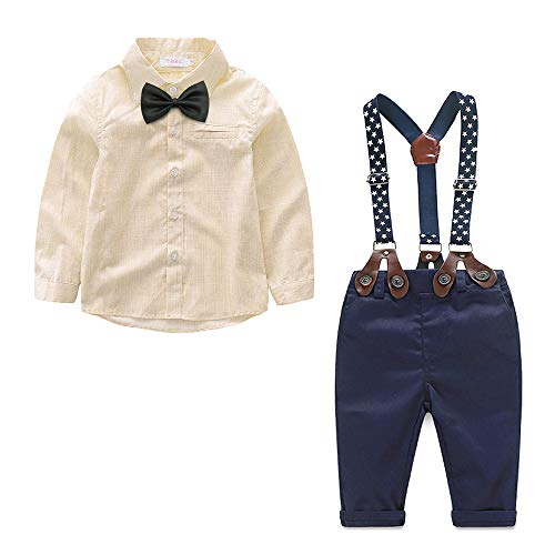 Yilaku Boys Fashion Gentleman Pants Clothing Set Long Sleeves Shirt