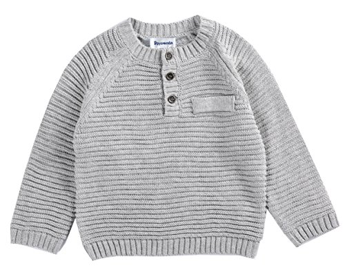 DOYOMODA Baby Boy Crew Neck Cable Pullover Button Down Sweater