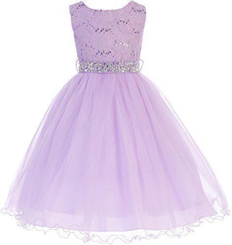 Big Girls' Lace Sequin Top Rhinestone Belt Flowers Girls Dresses