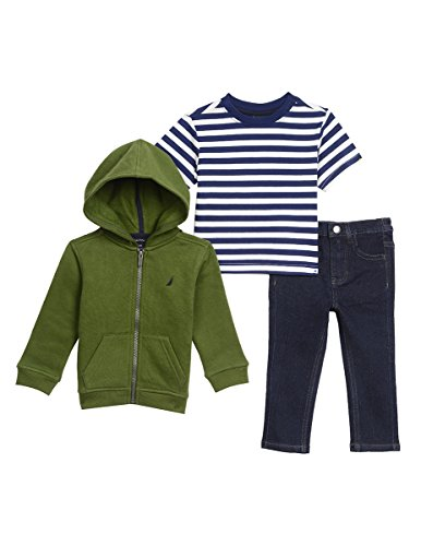 Nautica Baby Boys' Fleece Hoodie, Short Sleeve Tee