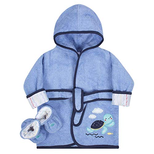 Baby Boy's 0-9 Months Blue Terry Turtle Robe and Booties Set
