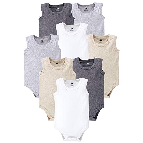 Hudson Baby 8 Pack Sleeveless Cotton Bodysuits, Heather Gray