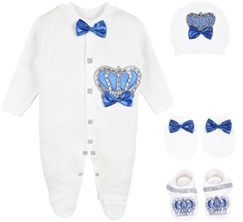 Lilax Baby Boy Newborn Crown Jewels Layette 4 Piece Gift Set