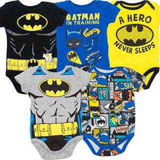 Warner Bros. Batman Baby Boys' 5 Pack Bodysuits Black