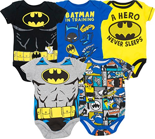 Warner Bros. Batman Baby Boys' 5 Pack Bodysuits Black