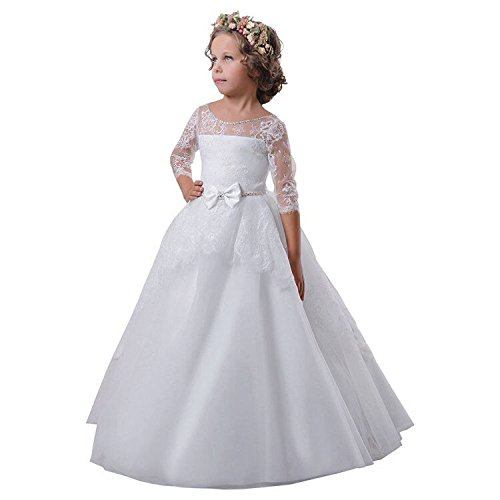 Carat Flower Girl Dress White Communion Lace Tulle Ball Gown White