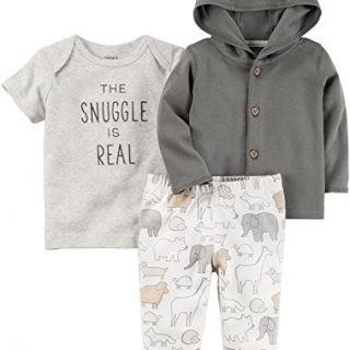 Carter's Baby 3 PieceThe Snuggle Is Real Tee, Hooded Cardigan