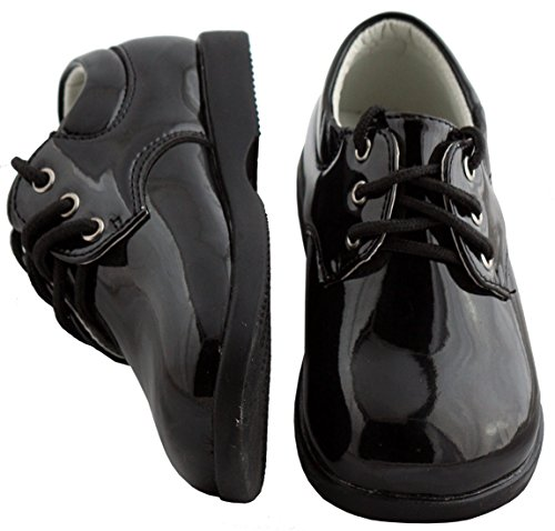 Boys Infant Toddler Black Round Toe Tuxedo Shoe