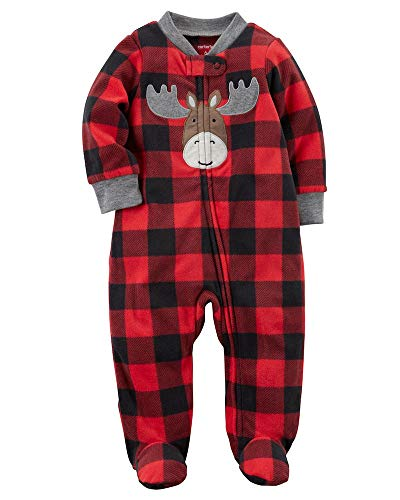 Carter's Baby Boys' Plaid Moose Zip Up Fleece Sleep And Play 3 Months