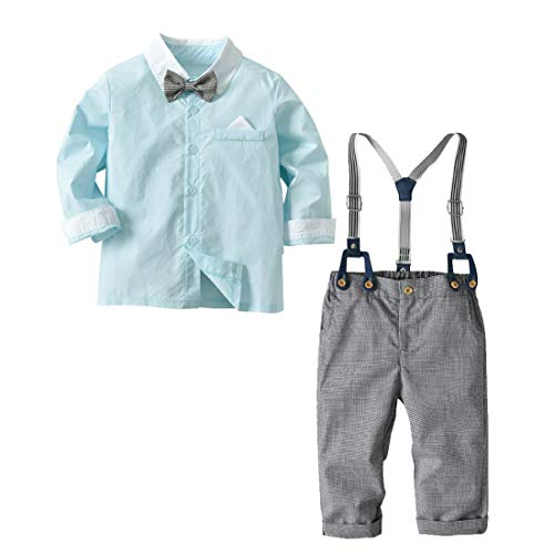 Baby Boys Gentleman Romper Wedding Long Sleeve Overall Bowtie