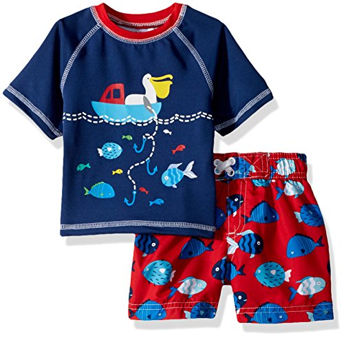 Wippette Baby Boys INF Pelican 2PC Rashguard Set, Red, 12M