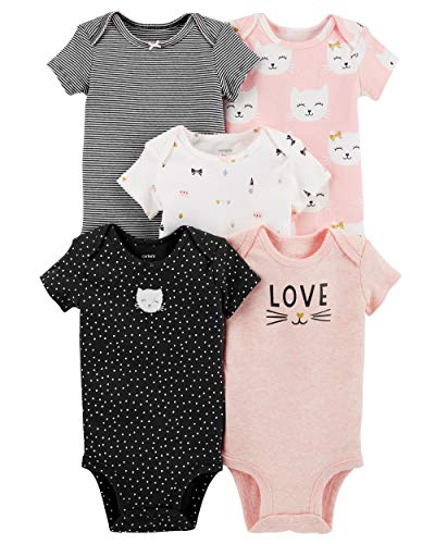 Carter's Baby Girls 5 Pack Bodysuit Set, Kitty Love, Newborn