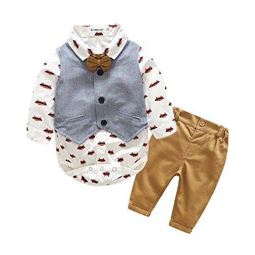 Kimocat Baby Boys' Gentle Romper Set Baby Romper Vest Pants