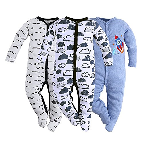 Hisharry 3-Pack Baby Boy Footed Toddler Snap Fit Cotton Pajamas