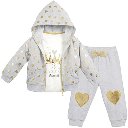 Lilax Baby Girl Soft Cotton Glitter Heart Print T-Shirt, Pant