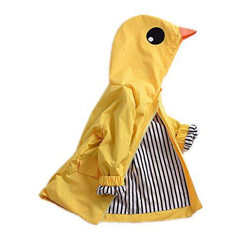 Birdfly Unisex Kids Animal Raincoat Cute Cartoon Jacket Hooded