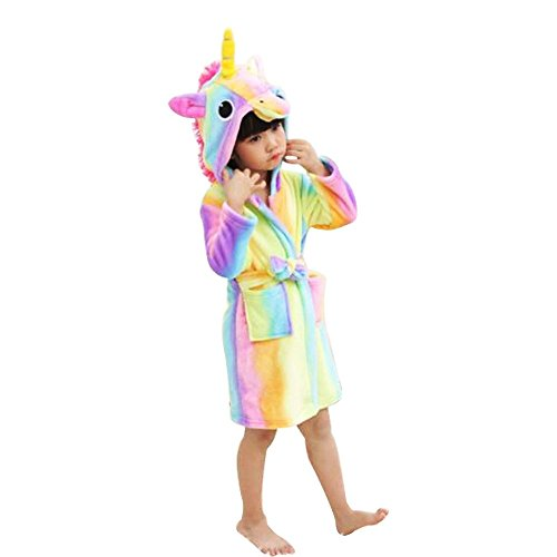 Hanax Kid Bathrobe Unicorn Flannel Ultra Soft Plush Comfy Hooded