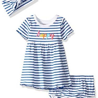 Gerber Baby Girls 3-Piece Dress, Diaper Cover and Headband Set