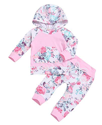 Baby Girls Long Sleeve Flowers Hoodie Top and Pants Outfit