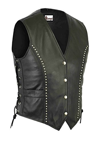 Classyak Women's Fashion Motorcycle Leather Biker Vest