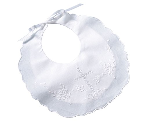 "Lillian Rose Cotton Christening Baby Bib, White, 8.5"" x 9"""