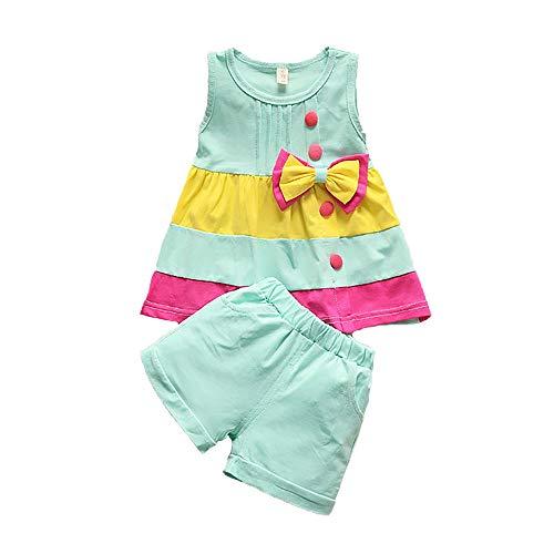 Summer Girls Set Toddler Clothes Sleeveless Vest+ Shorts