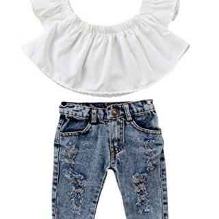 Baby Girls White Off Shoulder Blouse Top+Destroyed Ripped Jeans