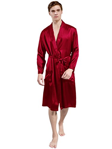 ElleSilk Men's Silk Robe, Silk Sleepwear for Men