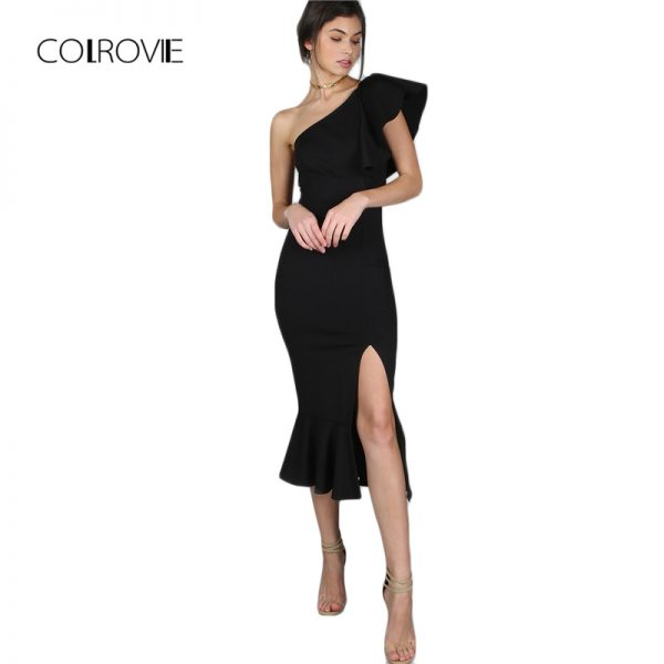 COLROVIE Black Party Dress Women One Shoulder